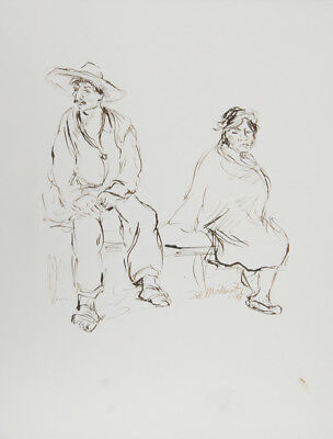 Ira Moskowitz, Couple in Mexico - II, Ink Drawing