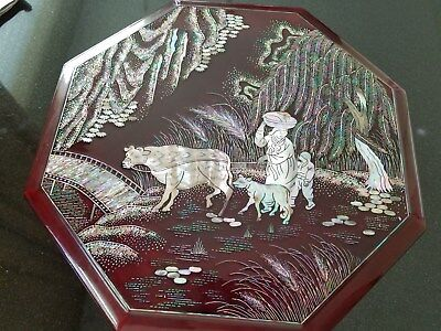 Vintage Asian Inlay Wood Mother Of Pearl Lacquered Octagon Compartment Box