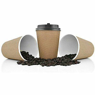 Premium Cups Disposable Paper Coffee With Lids. 12 Oz 100 Pack Stylish Ripple To