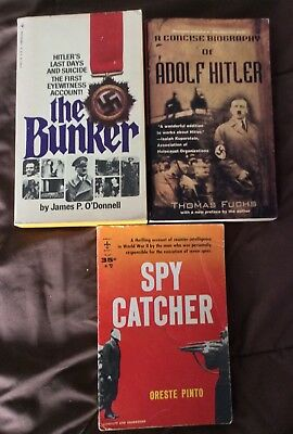 Lot of 3 World War 2, WW ll Vintage PBs The Bunker Hitler's Suicide Spy Catcher