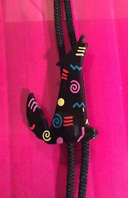 Southwestern style unisex handpainted wooden bolo tie with howling coyote slide