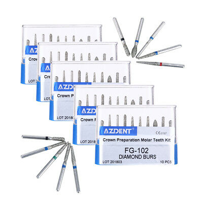 5 Kit Dental Diamond Burs Drills FG-102 Crown Bridge Preparation Molar Handpiece