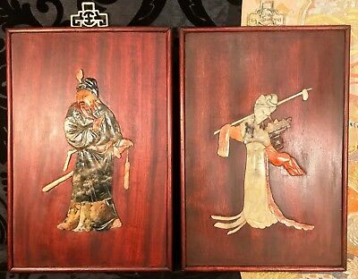 Stunning pair of antique chinese carved stone on hardwood wall plaques. 12 1/2""