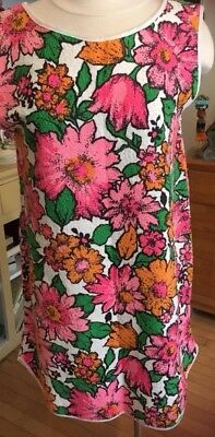 443669c613 Vintage 60s Terry Cloth Dress Beach Cover Up Unworn Floral Mini 38 Bust