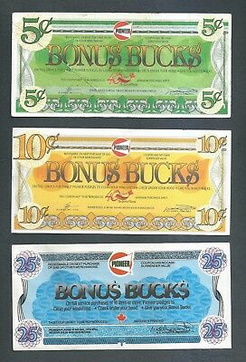 Pioneer - Bonus Bucks - 3 Notes - 5 10 & 25 Cents