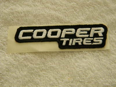 Cooper Tires- embroidered patch, adhesive backing-white & black-PBR-Bull Riding