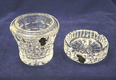 VINTAGE 1970s? WATERFORD CRYSTAL IRELAND OPEN SUGAR / JAM + ASHTRAY LABELS #15