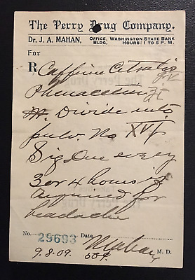 1907-1909 Lot of 6 Perry Drug Prescriptions Sheets.