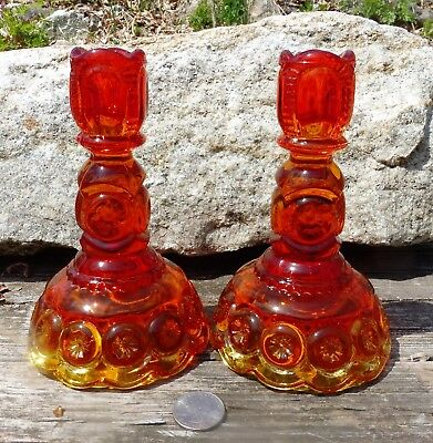 """Vintage Pair of 6.25"""" Candlesticks LE Smith Glass Pattern Moon & Stars Amberina"""