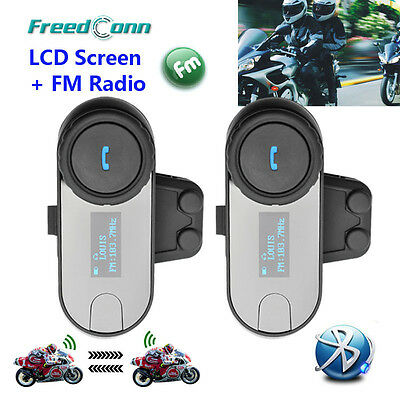 BT interphone Bluetooth Motorbike Motorcycle helmet intercom Headset FM LCD