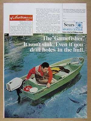 1971 Sears Ted Williams Gamefisher Fishing Boat photo vintage print Ad