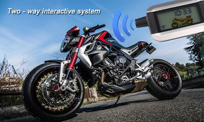 Motorcycle Alarm System LCD 2 Way Remote Engine Start Anti-theft Security Alarm