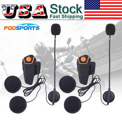 2x BT-S2 Bluetooth Intercom Communication System Motorcycle Interphone Headsets