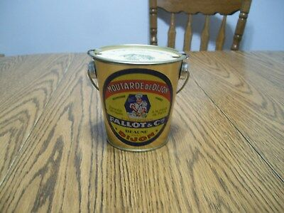 Dijon Mustard Tin Pail Collectable From France With Coaster