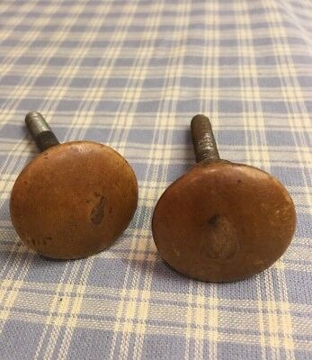 """2 Antique Victorian Turned Round Cherry  Wood  Knobs Cabinet Drawer 1-1/4"""" Pulls"""