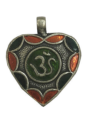 Antique Vintage Ethnic Silver Handmade Om Design Multi Color Art Pendant MB29SJ
