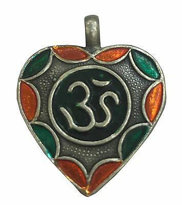 Antique Vintage Ethnic Silver Handmade Om Design Multi Color Art Pendant MB33SJ