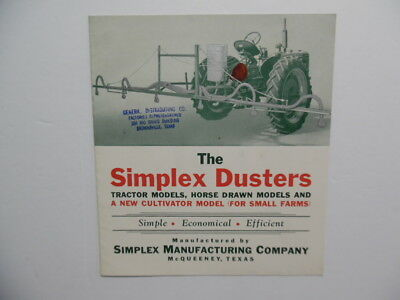 c.1950s Simplex Mfg Co Tractor Farm Duster Catalog Brochure McQueeney Texas VG