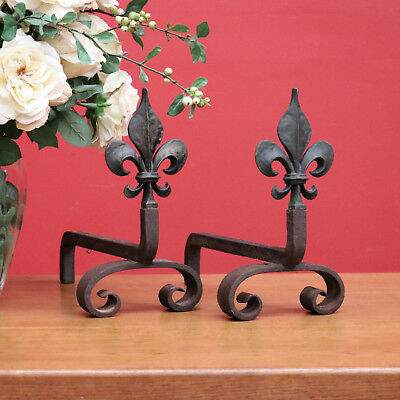 Pair Antique French Cast Iron Bronze Fleur-de-Lis Fleur de Lys Andirons Firedogs