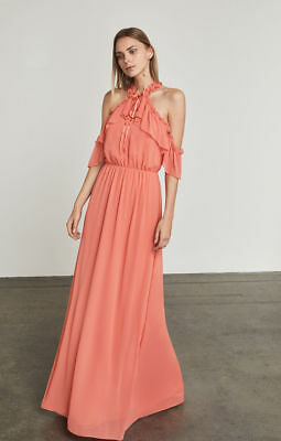 8423ee547a BCBG Max Azria Spiced Coral Pink Tracie Ruffled Cold Shoulder Maxi Dress  Gown S