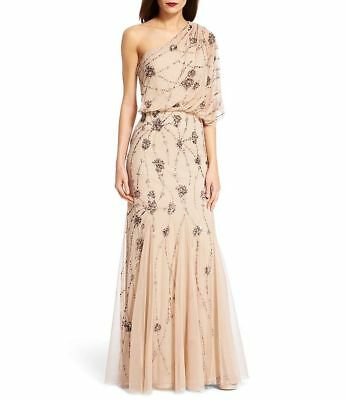HOT ADRIANNA PAPELL Embellished Beaded Sequin One Shoulder Blouson ...