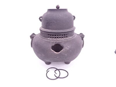 3630786: JAPANESE TEA CEREMONY / IRON KETTLE & BRAZIER SET w/ KAMAKAN HANDLES