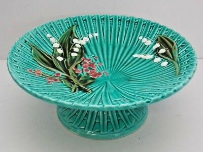 Majolica Vintage 1940's Pedestal Cake Stand Lily of Valley Hand Painted Germany