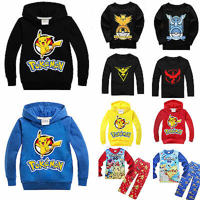 Pokemon Go Kids Boy Top Pikachu Hoodie Sweatshirt Jumper Coat Pyjamas Outfit AU