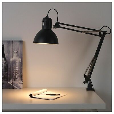 IKEA Grey Adjustable Arm Work Desk Lamp With Clamp Table Office Light