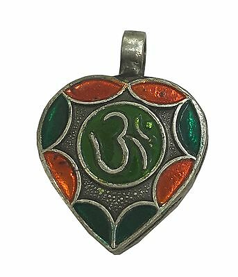 Antique Vintage Ethnic Silver Handmade Om Design Multi Color Art Pendant MB32SJ