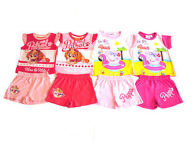 Girls Shorts & T-Shirt Set Peppa Pig Or Paw Patrol
