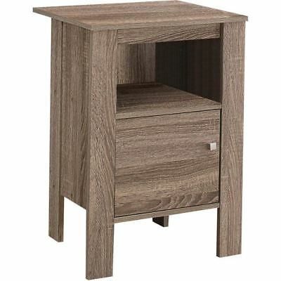 Monarch Specialties I 2136 Accent Table Dark Taupe Night Stand With Storage