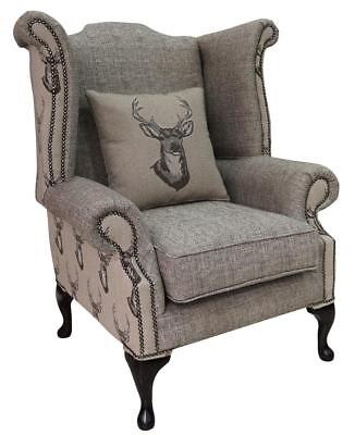 Chesterfield Queen Anne High Back Wing Chair Antler Stag Chocolate Brown Fabric