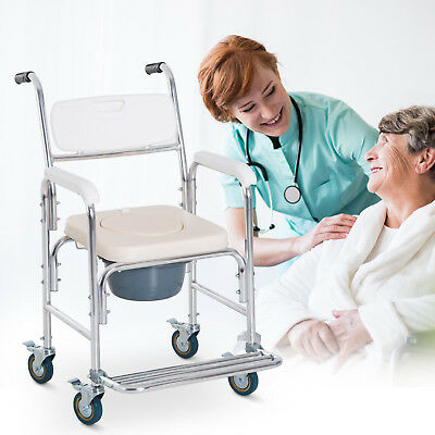 Bathroom Shower Toilet Commode Wheelchair Transport Medical Rolling Chair Seat