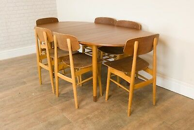 Vintage Retro Borge Mogensen Teak and Beech Dining Table and 6 Chairs
