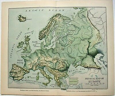 Original 1903 Dated Physical Map of Europe by Dodd Mead & Company