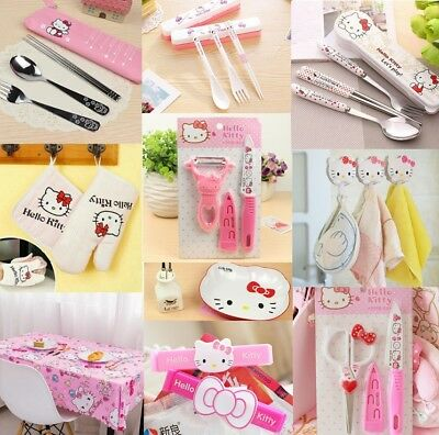 Hello Kitty Kitchen Tool Gadgets Kit Tableware Peeler Knife Fork Oil Tissue Box