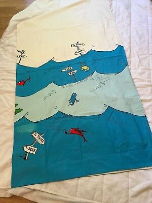 Pottery Barn Kids DR SEUSS SHOWER CURTAIN Bathmat Rug One Fish Two Red Blue
