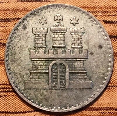 1855 Silver Hamburg German State Schilling Castle Coin About Uncirculated