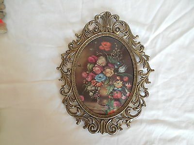 Vintage metal w/brass, bronze finish large wall plaque, flowers  Italy