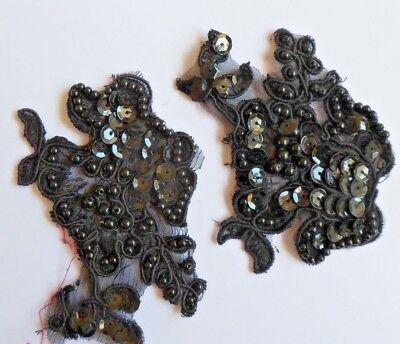 Vintage pretty and delicate 2 black sequinned beaded applique pieces -salvaged