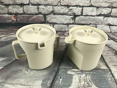 Tupperware Vintage Sugar & Creamer Set #1414 1415 Almond w/ Matching Lids
