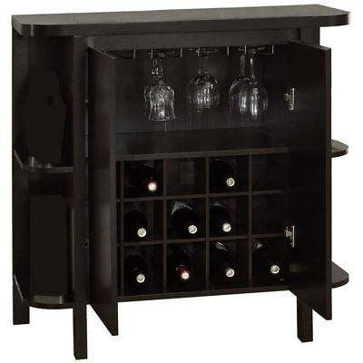 "Monarch Specialties Home Bar 36""H Cappuccino With Bottle Glass Storage"