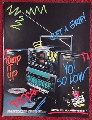 1989 Print Ad AIWA Portable Cassette Stereo BOOM BOX ~ What A Difference!