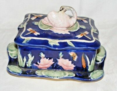 Antique Thomas Forester? Majolica Sardine Dish Box Swan Finial Minton? Dark Blue