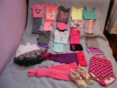 24 Pc Mixed Lot Girls Size 6-6X Used Summer Clothing + Sneakers
