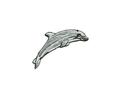 Dolphin Aquatic Embroidered Iron On Patch Ocean Dolphin Pair