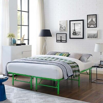 Folding Portable Low Profile Green Steel Metal Queen Size Bed Frame With Slats