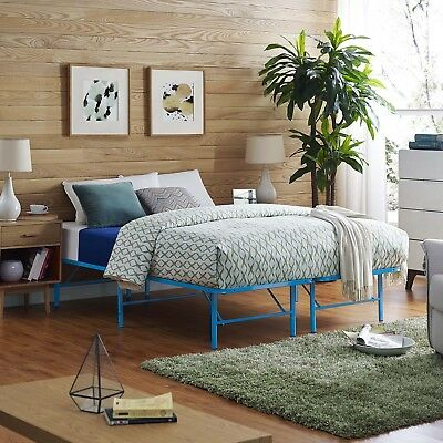 Folding Portable Low Profile Light Blue Steel Metal Queen Size Bed Frame With Sl