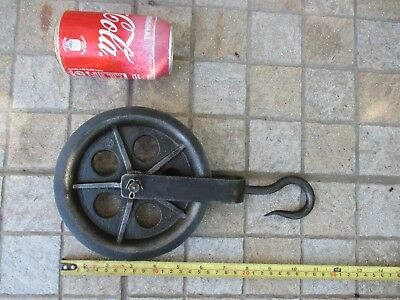 VINTAGE ORIGINAL LARGE NAUTICAL MARITIME IRON PULLEY ALBA SHEAVE TOOL 160 mm